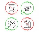 Do Or Stop. Water Drop, Cold Coffee And Latte Icons Simple Set. Water Bottles Sign. Aqua, Ice Cubes  poster