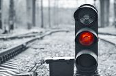 Traffic Light Shows Red Signal On Railway. Red Light poster