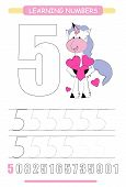 Funny Children Flashcard Number Five. Unicorn With Hearts Learning To Count And To Write. Coloring P poster