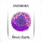 Seventh, Crown Chakra - Sahasrara. Illustration Of One Of The Seven Chakras. The Symbol Of Hinduism, poster