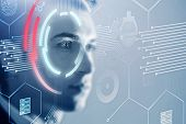 Face Of Young Man With Double Exposure Of Business Interface And Hud. Concept Of Artificial Intellig poster