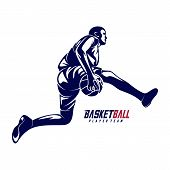 Modern Basketball Sport Silhouette Logo Vector Template. Basketball Player Slam Dunk Design Vector poster