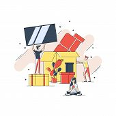 Flat Geometric Line Art Illustration Of Moving And Transporting Things And Objects Concept. Transpor poster