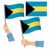 Bahamas Flag In Hand. Patriotic Background. National Flag Of Bahamas  Illustration poster
