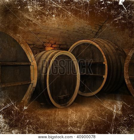 Wine Cellar With Old Oak Barrels In Vintage Style