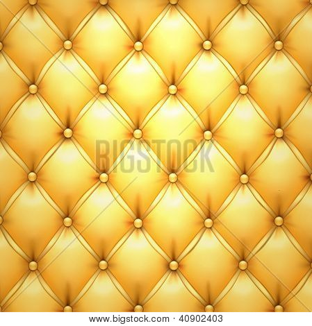 Vector illustration of golden realistic upholstery leather pattern background. Eps10.