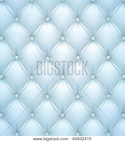 Vector illustration of blue realistic upholstery leather pattern background. Eps10.