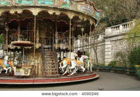 French Old Carousel With Horses
