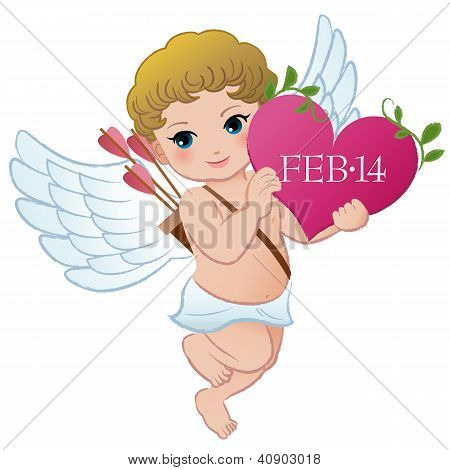 Cupid Holding Valentine's Day Heart