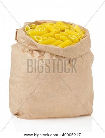 raw pasta isolated on white background
