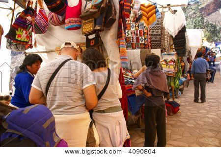 Woman Shopping For Textiles