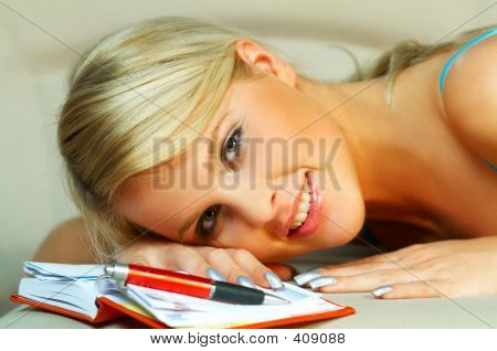 Blond Woman With Date Book
