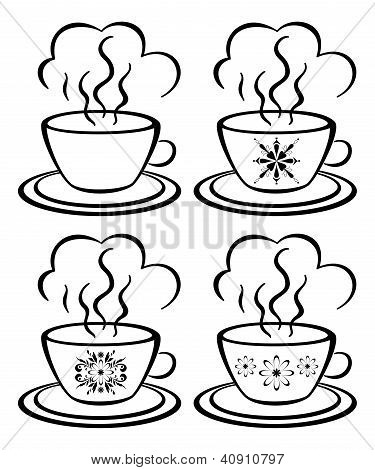 Cups with a floral pattern, outline