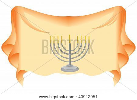Menorah On Fabric