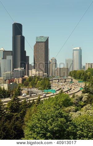 Seattle Skyline and Freeways vertical