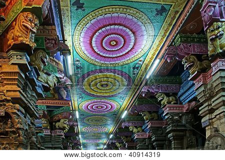 Ceiling Meenakshi Sundareswarar Temple In Madurai, India