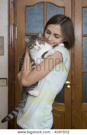 Attractive Woman With A Cat