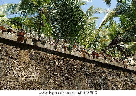 Fence With Broken Glass For Protection Against Thieves