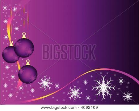Purple Christmas Baubles Vector Background