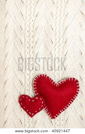 Valentines On Knitted Texture