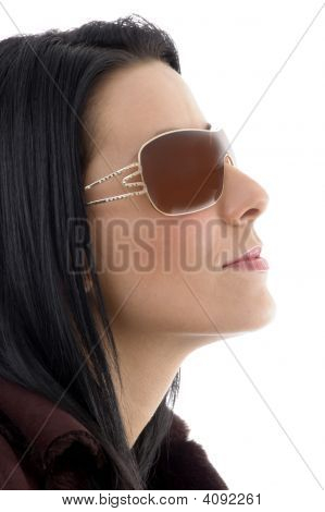 Side Pose Of Model With Sunglasses On White Background