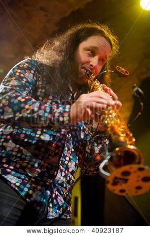 PRAGUE - DECEMBER 31: Rhytm Desperadous group performs in Agharta Jazz Club at the 2013 New Year celebrations on December 31, 2012 in Prague.