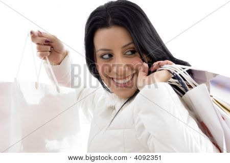 Portrait Of Happy Woman Shopping Bags