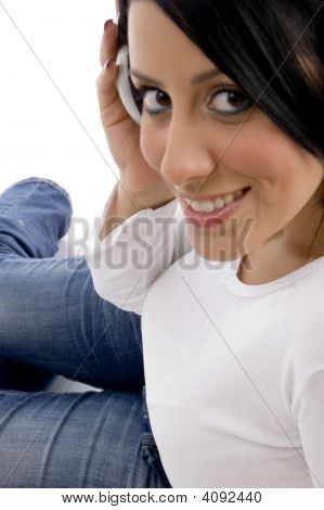 Side View Of Smiling Adult Woman