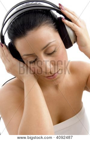 Top View Of Female Wearing Headphone