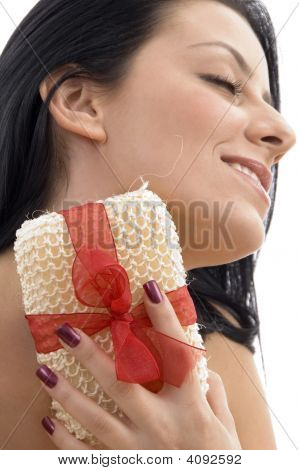 Close Up Of Woman Scrubbing Her Neck