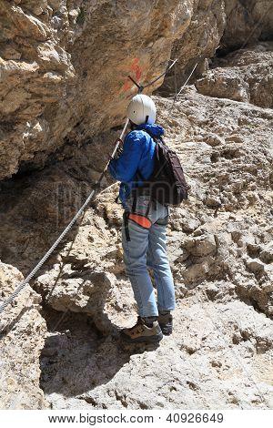 Hiker On Via Ferrata