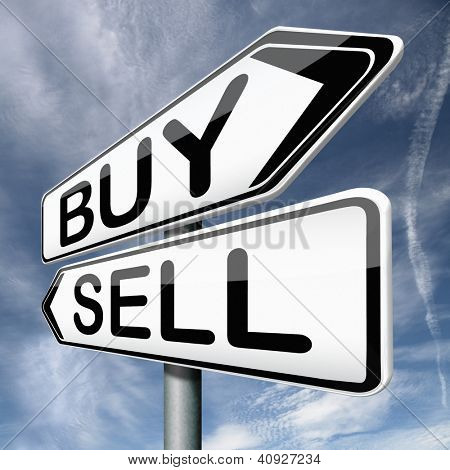 buy or sell buying or selling on stock market road sign text