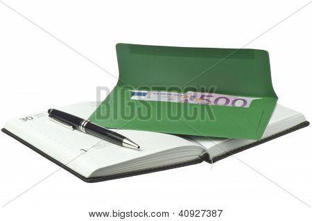 Calendar, Pen And Colored Envelopes With Euros