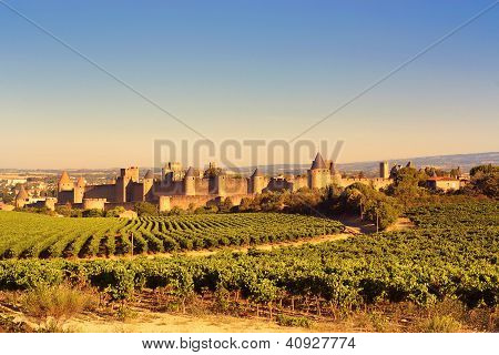 The Walled City Of Carcassonne, France
