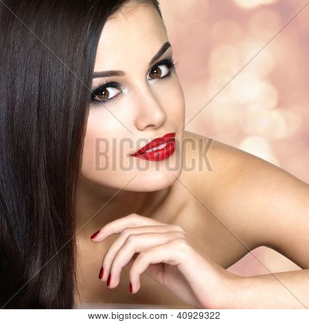Beautiful Woman With Long Brown Straight Hairs