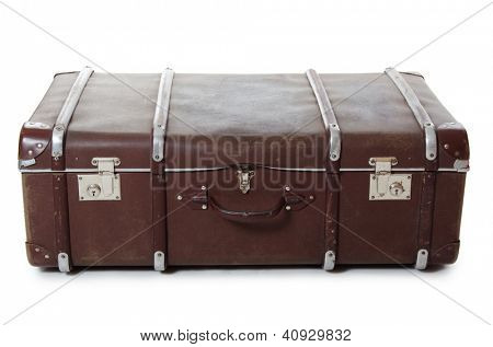 closed old suitcase isolated on white background