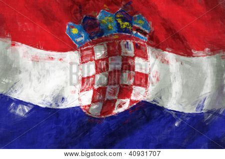 Flag Of Croatia Abstract Painting Background
