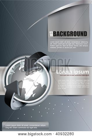 Vector abstract brochure background with globe and arrows