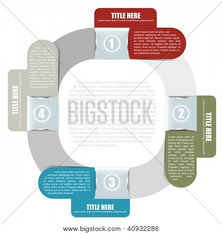 Abstract vector background with a four part scheme for text