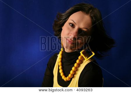 Isolated Young Woman On Blue