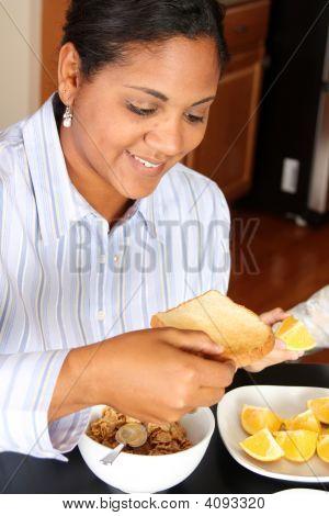 Woman Family Eating Breakfast