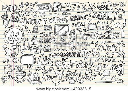 Internet Business Technology Doodle Vector Set