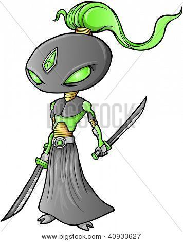 Vetor de Cyborg Ninja guerreiro robô
