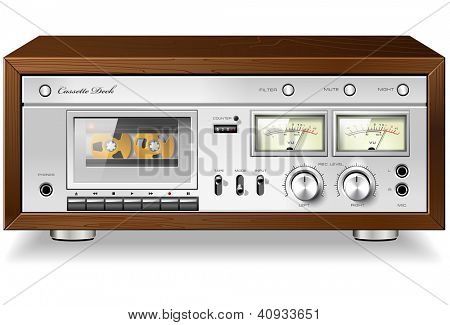Vintage HI-Fi analog stereo cassette tape deck recorder player detailed vector