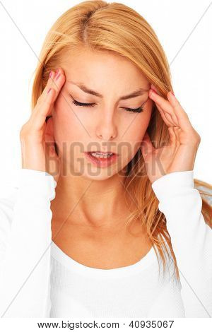 A picture of a young woman with severe headache over white background