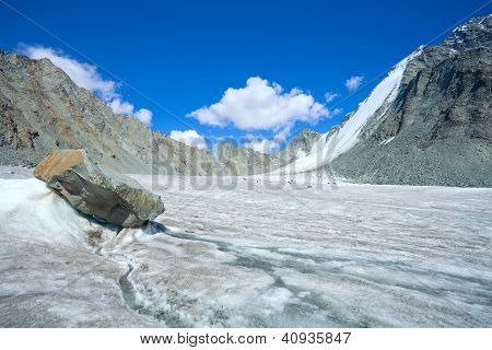 Mountain Landscape With Glacier And Stone Screes