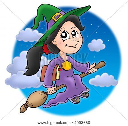 Cute bruxa na vassoura