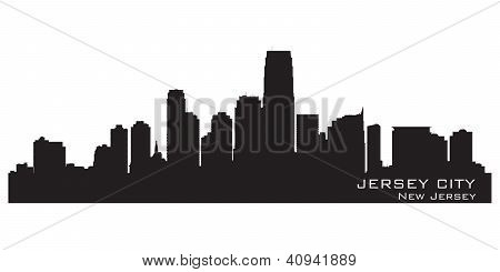 Jersey City, New Jersey Skyline. Detailed Silhouette