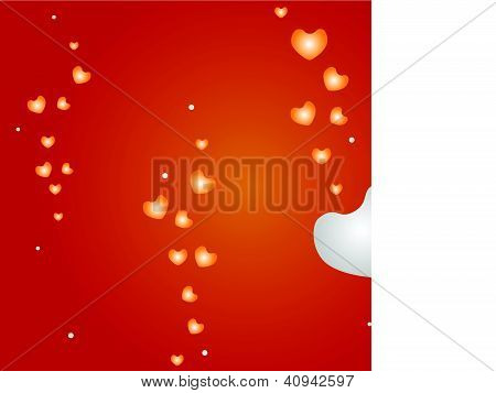 An Illustration of Hearts on Red Background