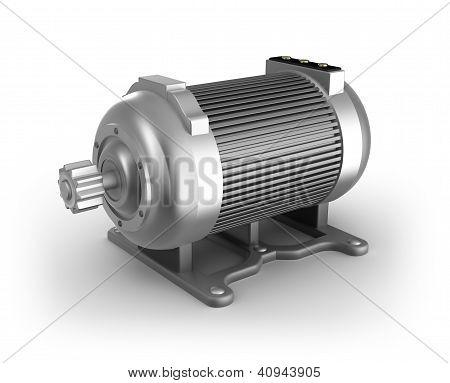 Elektrische motor. 3D-beeld. Geïsoleerd op wit